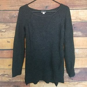 Charcoal grey ribbed scoop neck sweater